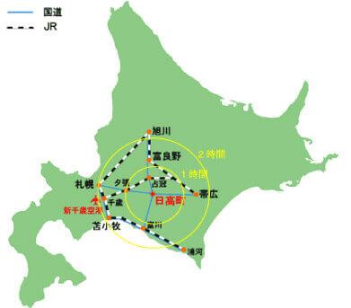 北海道主要都市からのアクセス